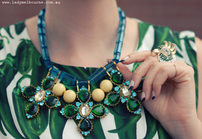 Green blue jewel necklace