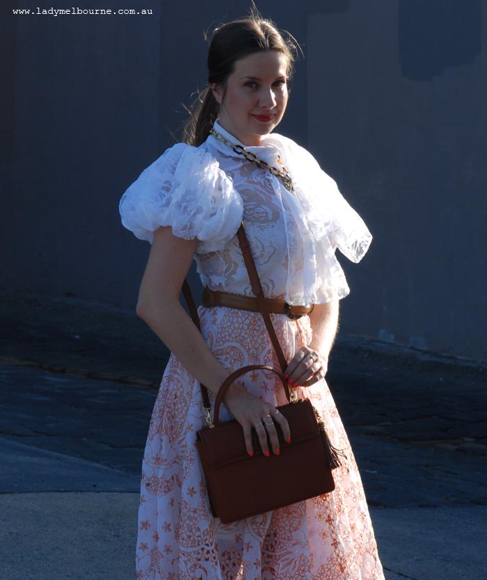 Cut work tablecloth skirt
