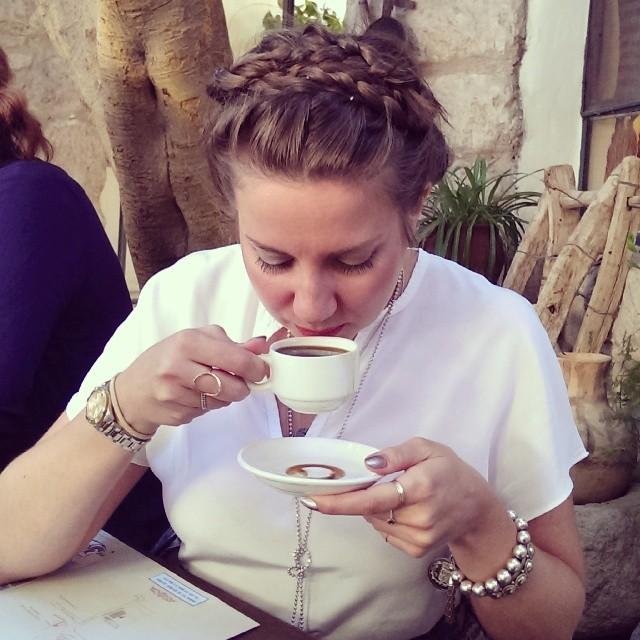 Drinking Arabic coffee in Madaba, Jordan