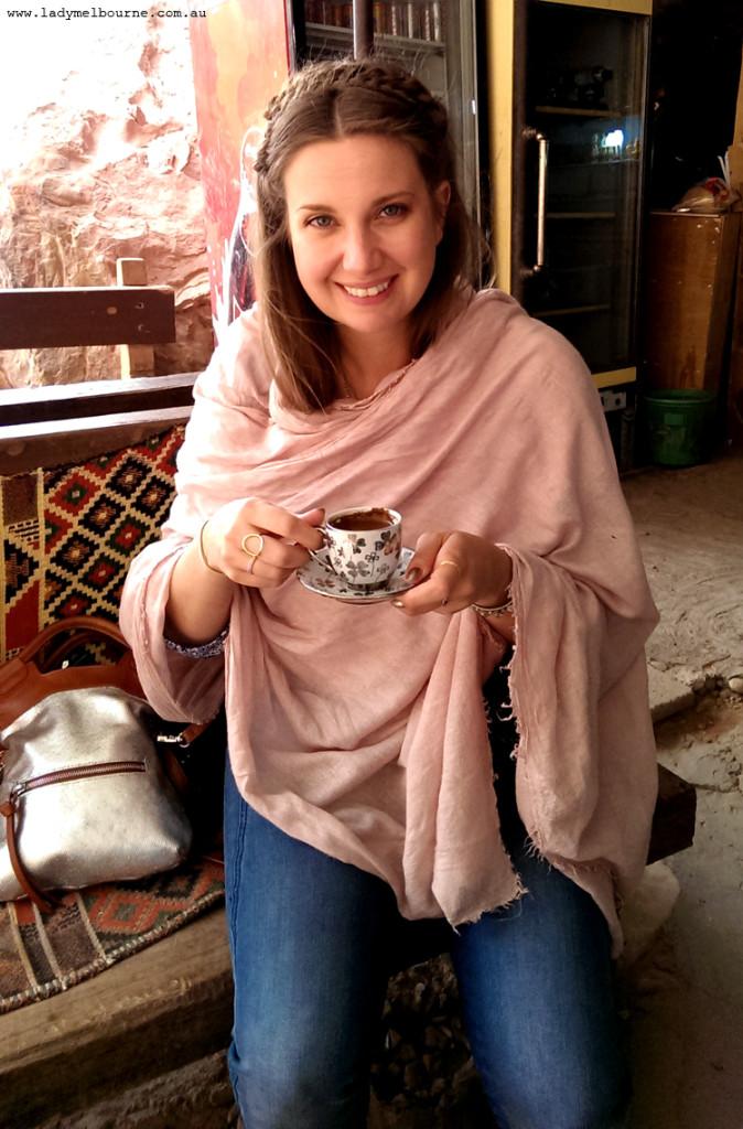 Having coffee in Petra, Jordan