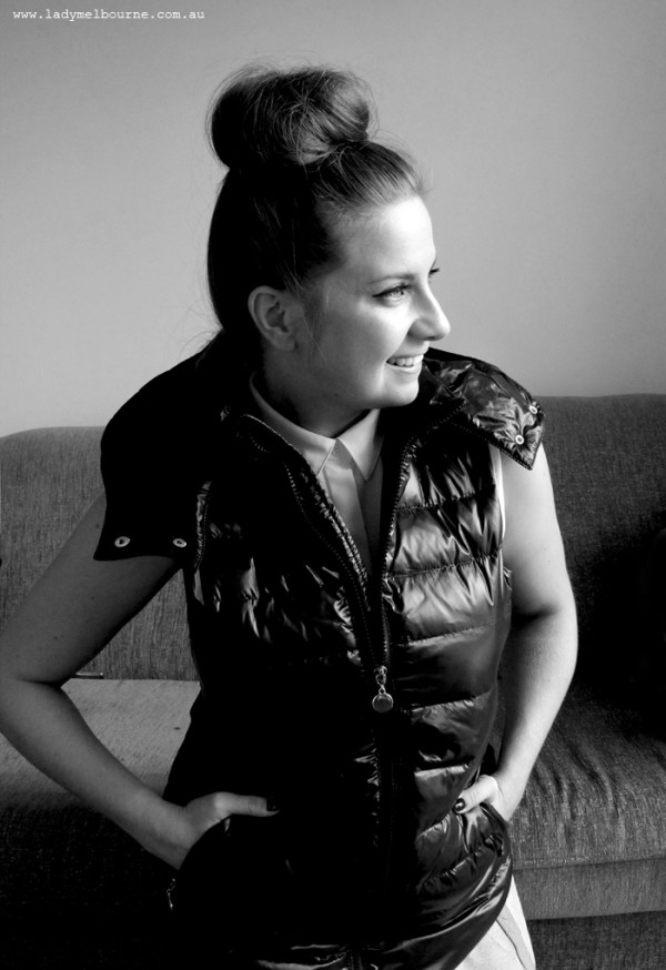 Lady Melbourne wearing Feathers black puffa