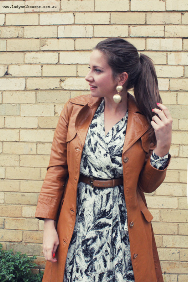 Lady Melbourne's 1970s tan leather coat