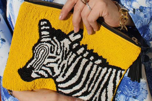 Mozi 'Out Of Africa' beaded clutch