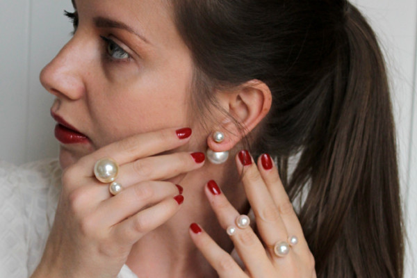 Lady Melbourne's double pearl rings and earrings