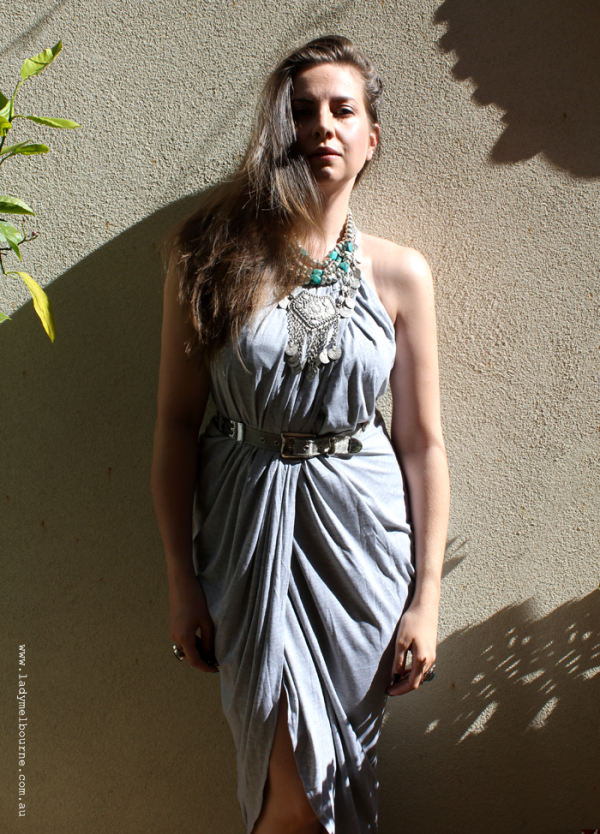 Lady Melbourne in a grey wrap dress