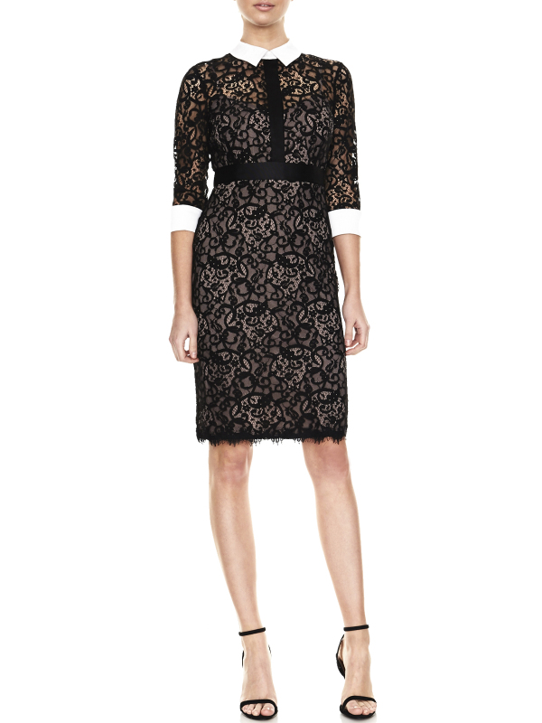 Montique lace dress is designed with a collar, cuffs, sheer 3/4 sleeves and knee length