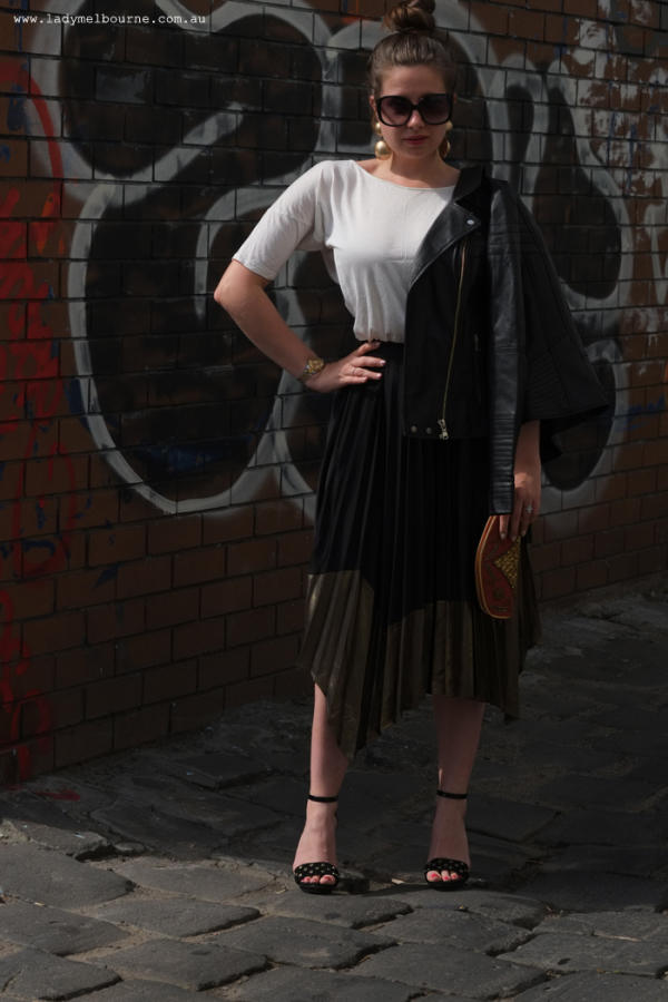 Lady Melbourne wearing a River Island skirt and jacket
