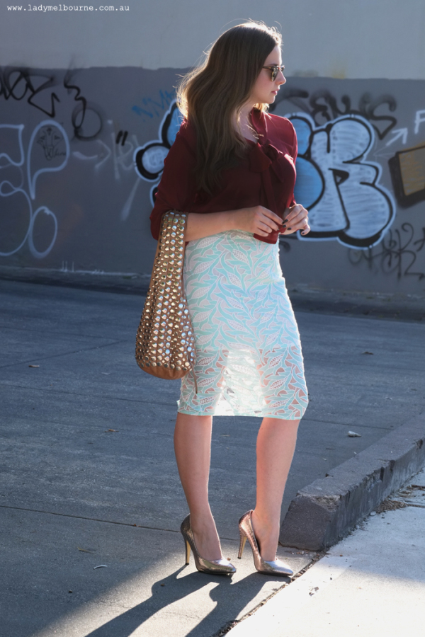 Lady Melbourne wears lace skirt by 'Runaway'