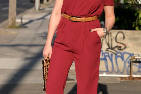 Lady Melbourne wearing ABS by Allen Schwartz jumpsuit from Shop By Heart