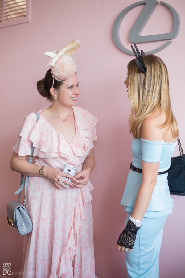 Lady Melbourne and What Would Karl Do in the Lexus marquee on Crown Oaks Day 2014