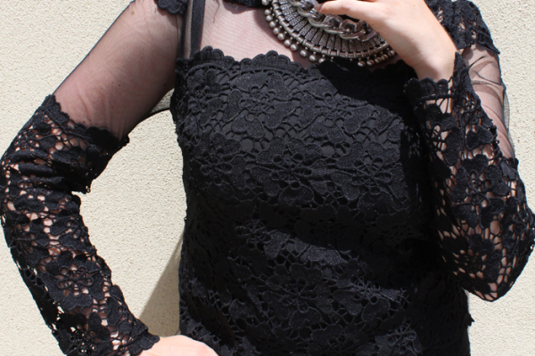 Chic Wish black, lace, sheer blouse