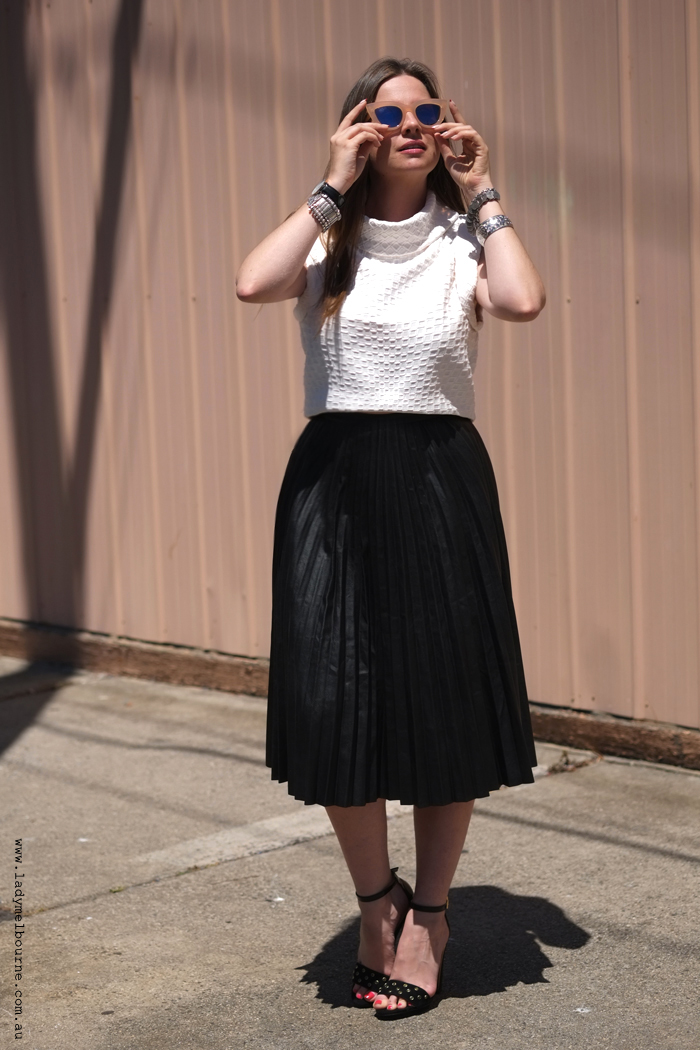 The Leather Pleat Skirt