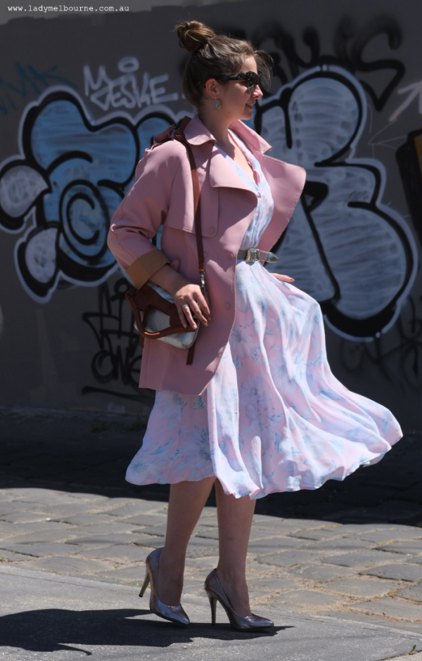 Lady Melbourne wearing pink jacket from Chicwish.com