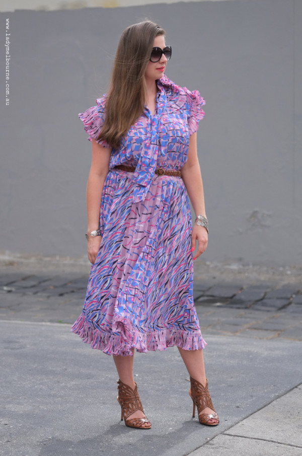 Lady Melbourne wearing a vintage Diane Freis dress with Nine West heels