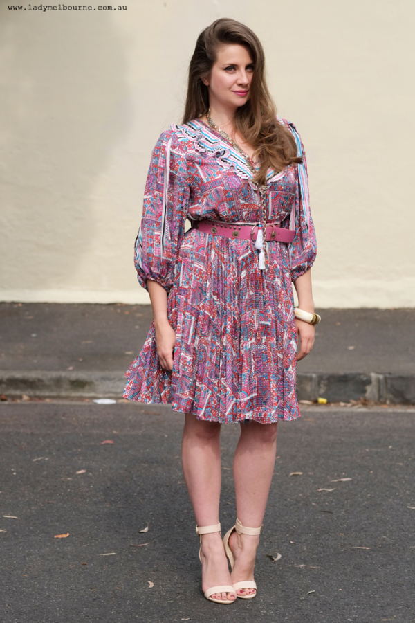 Lady Melbourne wearing her favourite Diane Freis dress