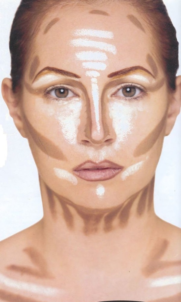 Contouring or the application of makeup to highlight the face
