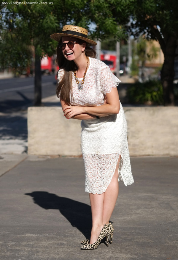 Lady Melbourne in Fame & Partners two piece lace outfit