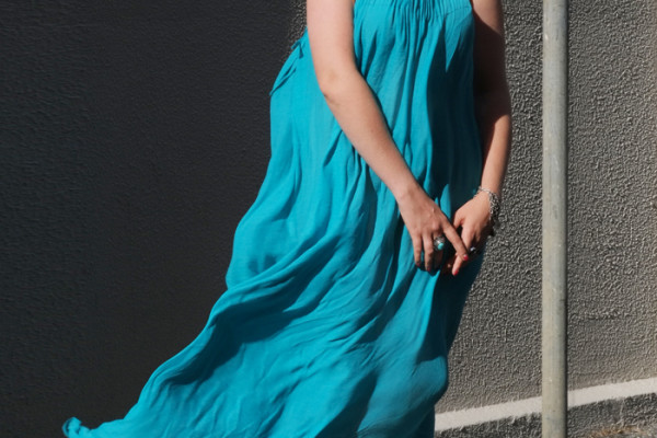 The 'Oceana' dress in turquoise from St Frock as seen on Lady Melbourne