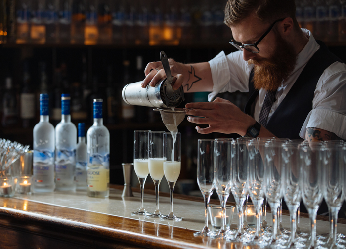 GREY GOOSE vodka served chilled with St-Germain elderflower liqueur, freshly squeezed lime juice and soda water