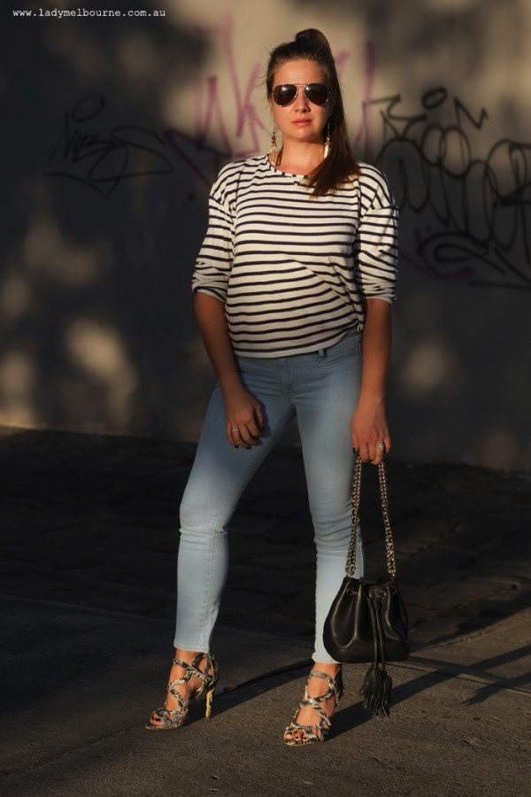 Lady Melbourne in skinny jeans and a breton top