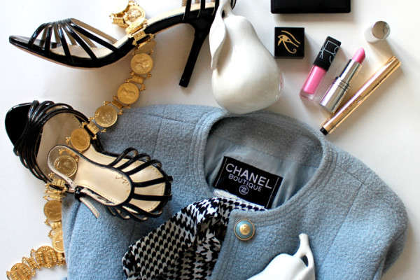 Chanel flat lay with beauty products