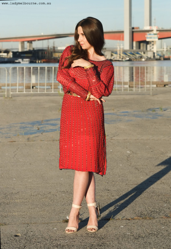 Lady Melbourne in a vintage, red, sequin, dress
