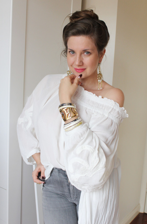 Lady Melbourne wearing a cotton, boho blouse