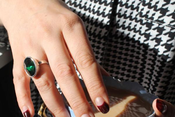 Green cubic zirconia ring by Benjamin Clark