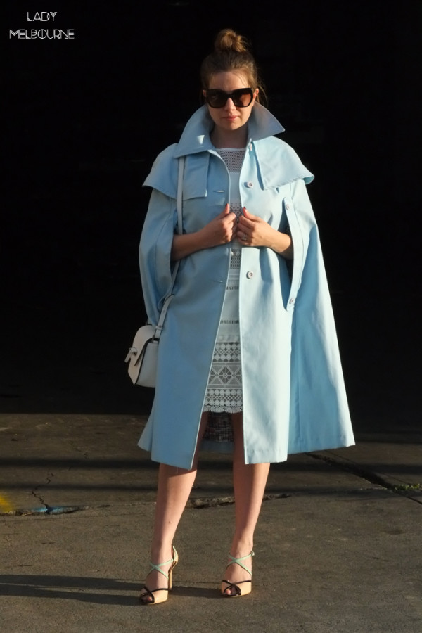 Lady Melbourne wearing a pale or light blue cape/coat