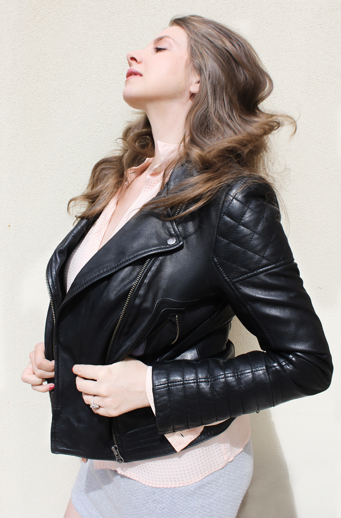 Lady Melbourne in her leather motorcycle jacket from Boden Clothing | www.ladymelbourne.com.au