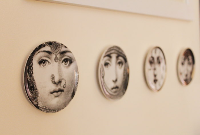 Fornasetti plates, as seen on Lady Melbourne's picture wall | more on www.ladymelbourne.com.au