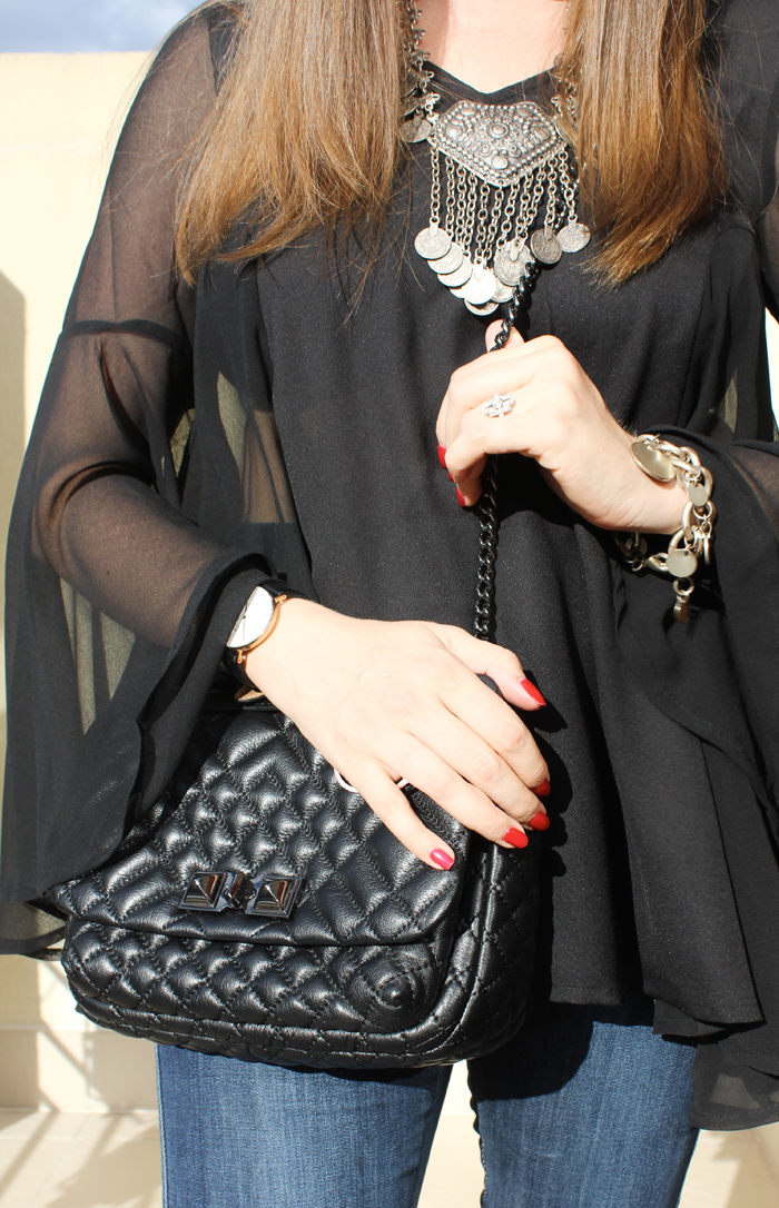 Rebecca Minkoff bag with sheer blouse | www.ladymelbourne.com.au