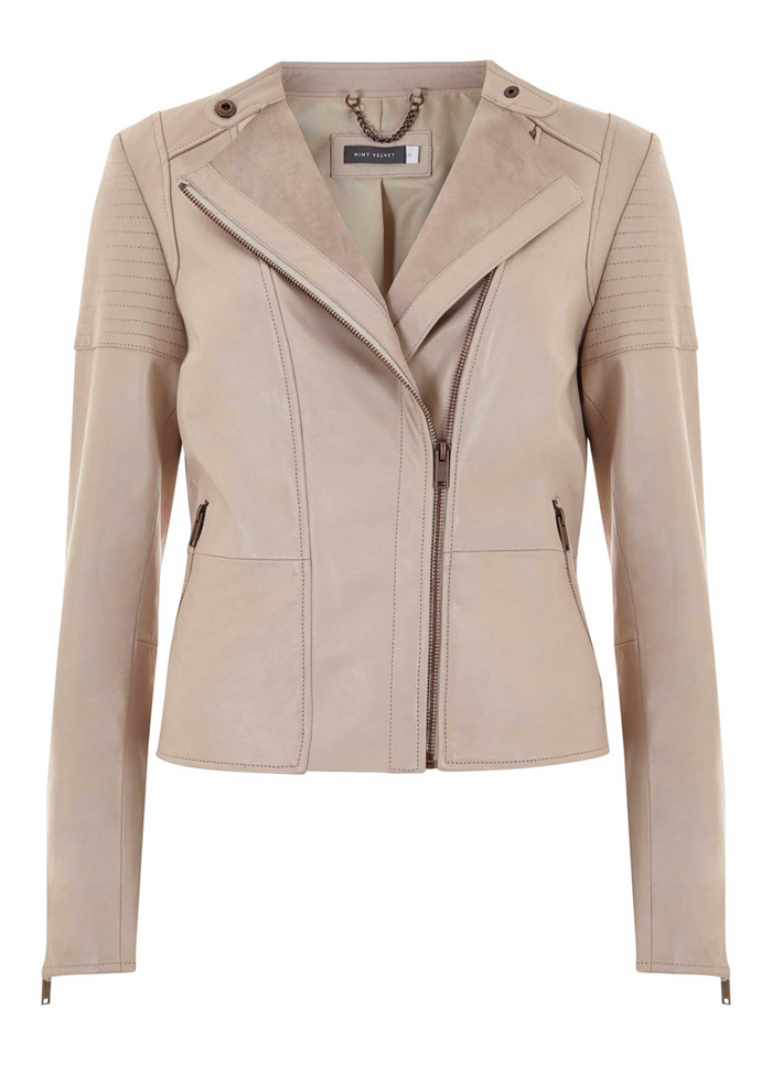 Nude Leather Collarless Biker Jacket, $519 by Mint Velvet