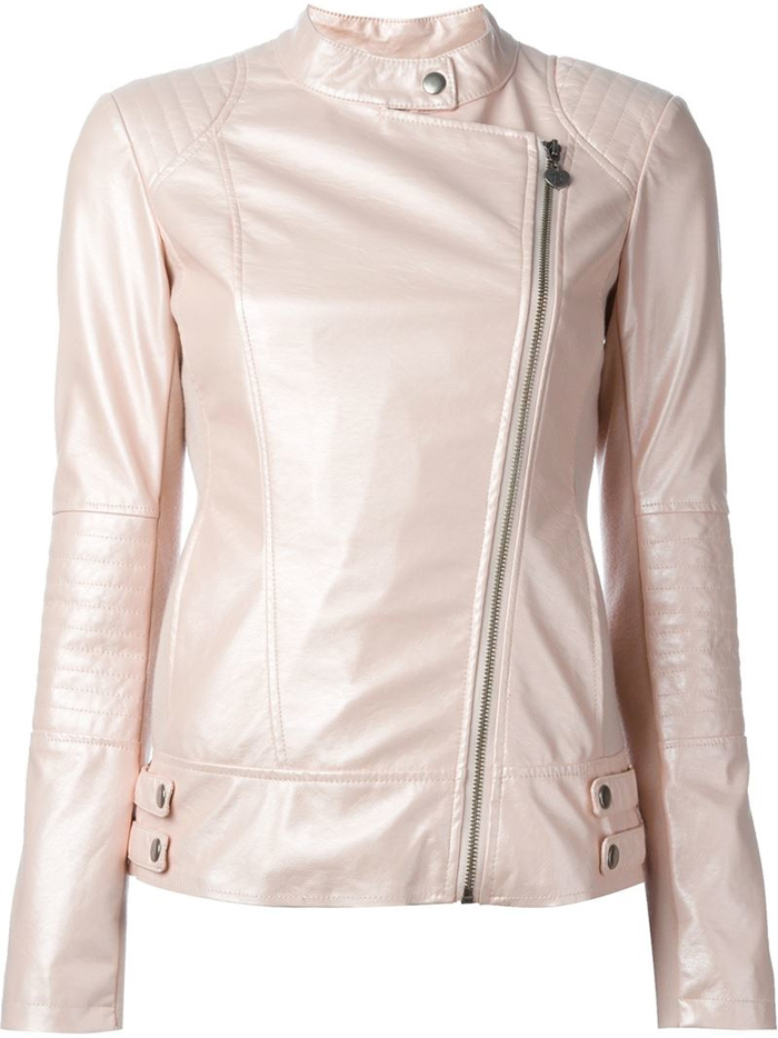 Buckle Detail Biker Jacket, $216 by TWIN SET
