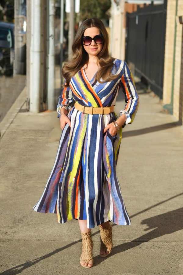 Multi stripe dress from Closet London | more on www.ladymelbourne.com.au
