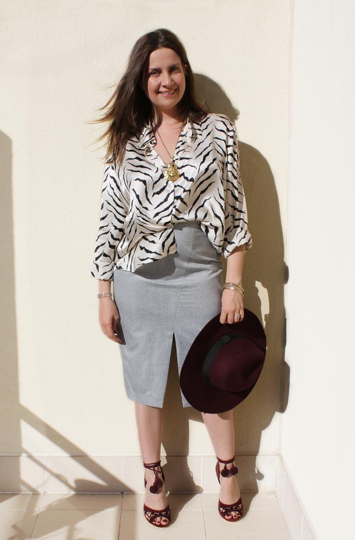 Zebra blouse, pencil skirt and Paola Fabris heels | www.ladymelbourne.com.au