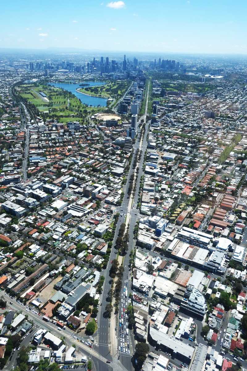 An aerial view of Melbourne