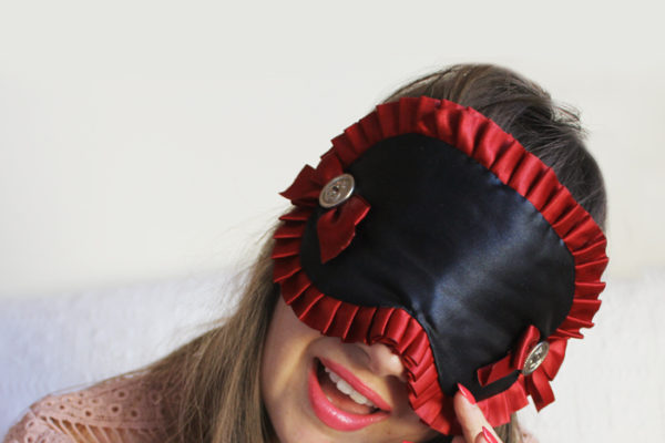 Lady Melbourne wearing a Love Me Sugar Eye Mask
