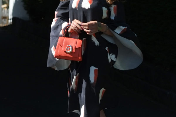 Mesop dress with Schutz Juliana heels and Trussardi LOVY bag