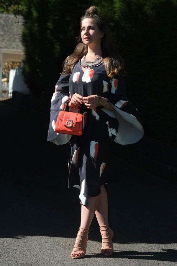 Mesop dress with Schutz Juliana heels and Trussardi LOVY bag