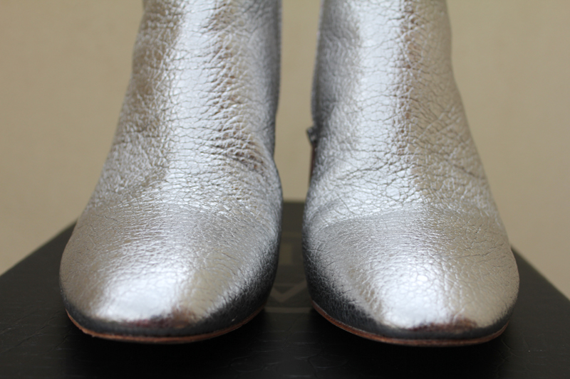 The Ash 'Heroin' silver leather booties