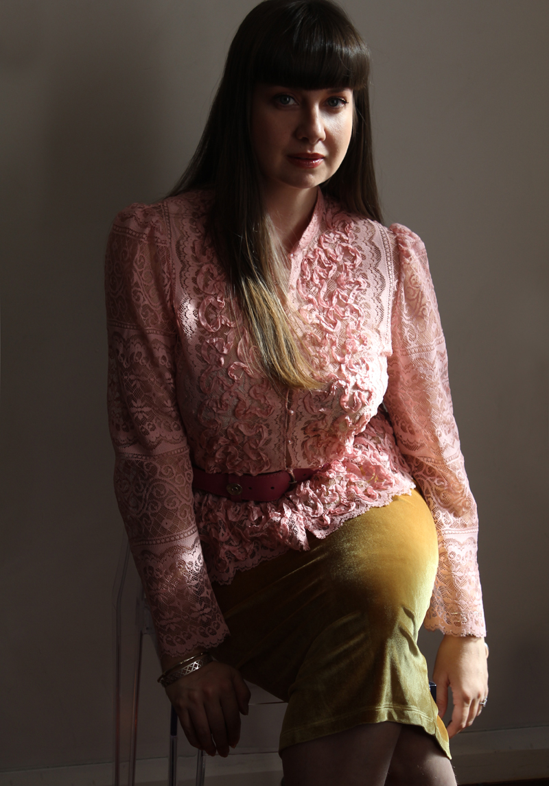 Lady Melbourne wearing pink lace blouse with gold velvet skirt