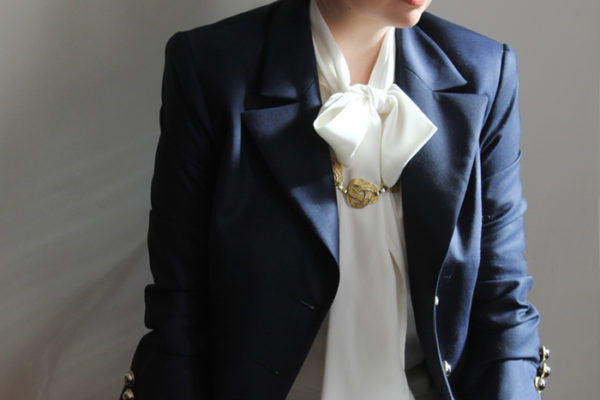 Navy tailored blazer by Julie Goodwin Couture