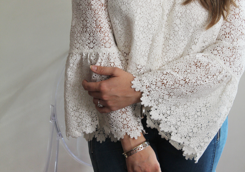 The Majorelle 'Creek' top in white lace