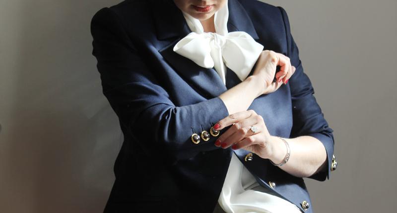 Navy bespoke blazer by Julie Goodwin Couture