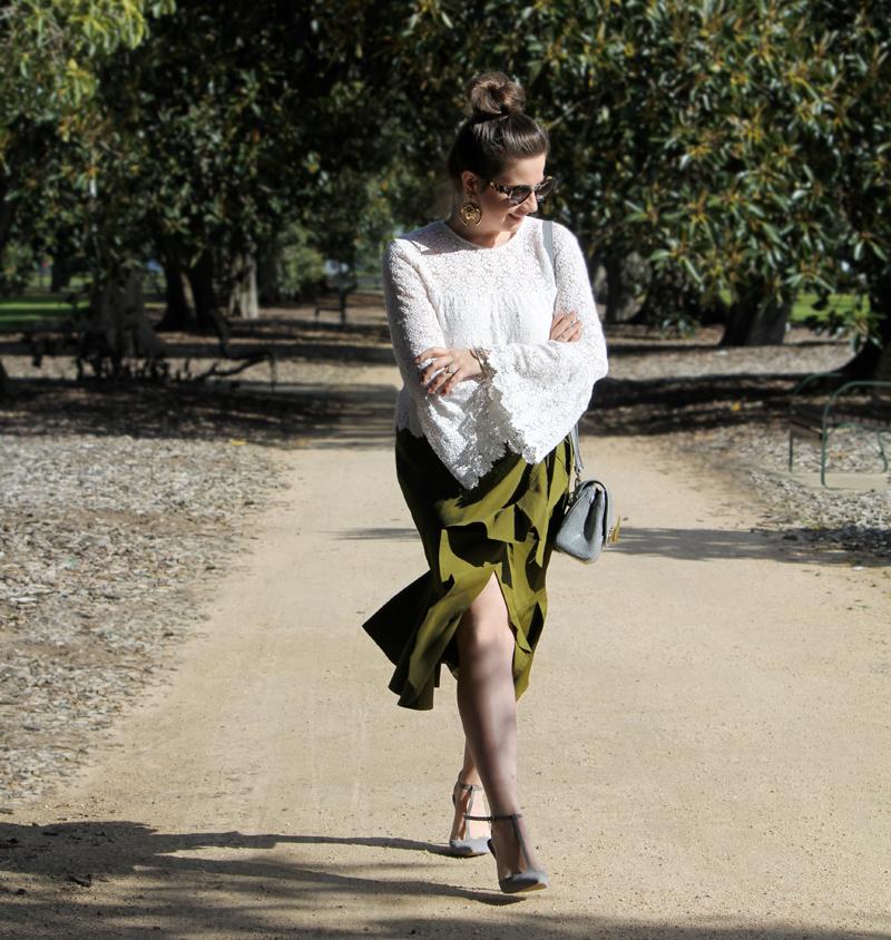 Olive frill hem skirt with Majorelle 'Creek' top | more on www.ladymelbourne.com.au