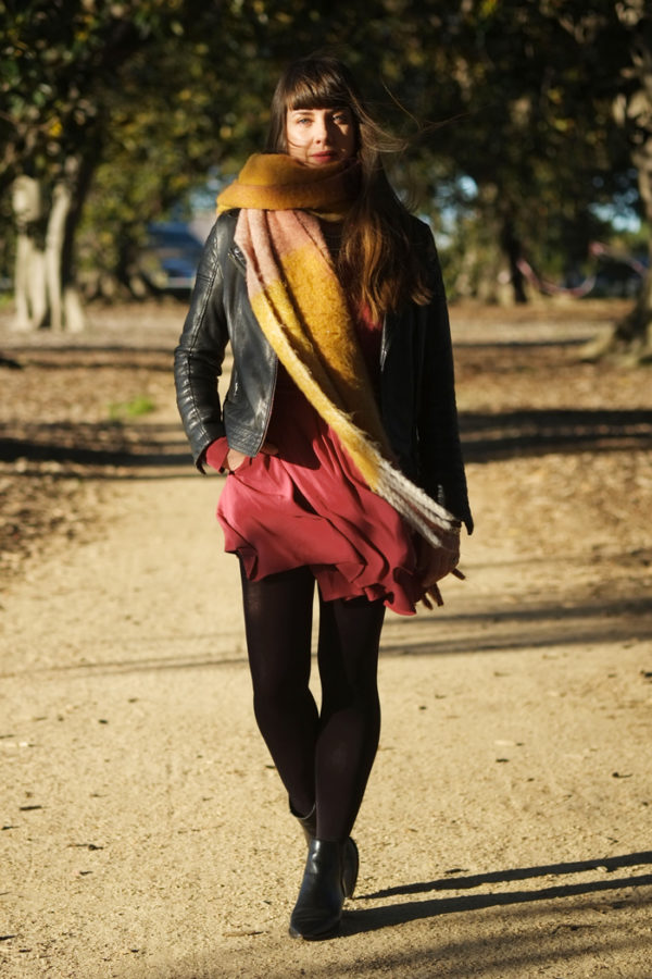 Red mini dress with long woollen scarf | more on www.ladymelbourne.com.au