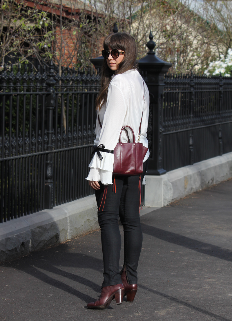 StFrock 'Alba' top, Lee wet look jeans, Rebecca Minkoff bag, Ash leather boots