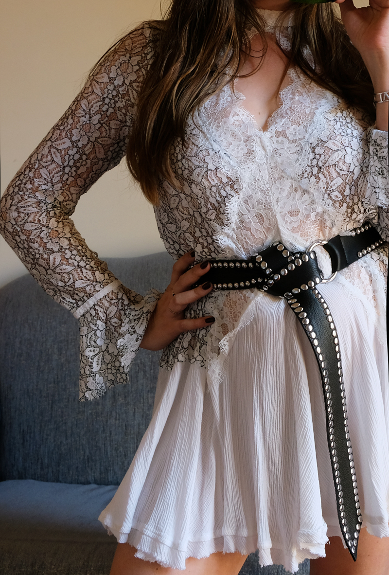Free People Lace dress with B-Low The Belt moto belt