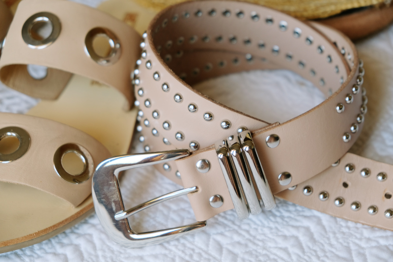 Studded belt from B-Low The Belt with Solsana leather sandals